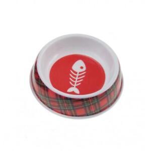 Glen Appin Red Tartan Royal Stewart Melamine Cat Kitten Food Water Bowl