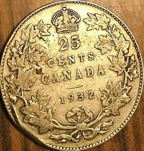 1932 CANADA SILVER 25 CENTS COIN QUARTER TWENTY FIVE CENTS