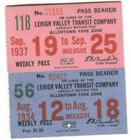 Lehigh Valley Transit Company Bus Pass 1934 + 1937