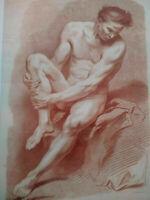 Rarissime grande gravure XVIIIème Demarteau Vanloo sanguine homme superbe cadre