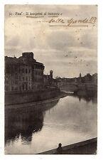 C002676     PISA   IL   LUNGARNO  AL  TRAMONTO   ANIMATA    VG  1916