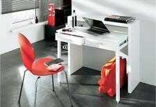 Home Innovation 98,6x86,9x36-70cm Console Bureau Extensible avec 2 Tiroirs - Blanc Brillant