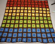 """Afghan Granny Square 64""""x65"""" Large Handmade Crocheted Rainbow Ombre Soft blanket"""