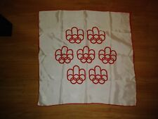 Vtg 1976 Montreal Olympic Games Off White & Red Logo Acetate Scarf