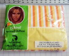 Dantrel Full Flat Sheet Vintage Yellow Orange Candy Corn Striped Dan River New