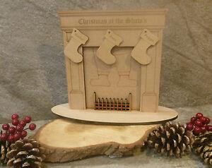 Wooden mdf personalised christmas santa fireplace craft blank decoration