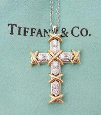 TIFFANY & CO. JEAN SCHLUMBERGER DIAMOND CROSS PLATINUM GOLD PENDANT NECKLACE .35