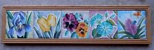 Hand Painted Flowers Tile Art 5 Tiles Signed & Dated