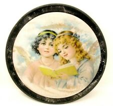 Vintage Flue Cover Angels Picture Mounted on Glass Round Metal Frame 12in