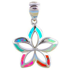Fashion 925 Silver Jewelry Flower MIX Fire Opal Charm Pendant Necklace Chain  ~~