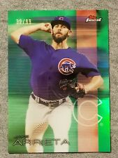 2016 Topps Finest Jake Arrieta Cubs Green Refractor Card #6 Numbered 32/99