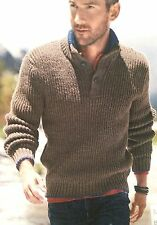 Mens Button Neck Rib Jumper ( S ,M, L, XL, XXL ) Knitting Pattern