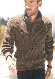 Mens Button Neck Rib Jumper ( S ,M, L, XL, XXL ) Knitting Pattern