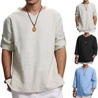 Men Summer Cotton Loose 3/4 Sleeve Hemp Tops Comfortable Baggy Tee Shirts Blouse