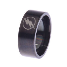 Fashion Black Titanium The Flash Men Punk Stainless Steel Ring Gift Father SZ 13