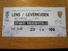 08/03/2007 Ticket: Lens v Leverkusen [UEFA Cup] (Folded). No obvious faults, unl