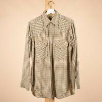 "Vintage WOOLRICH Grey & Beige Wool Check Men's Shirt 40"" Medium"
