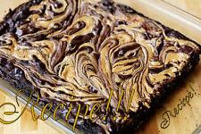 "☆Sweet & Chewy☆Peanut Butter Swirled Dark Chocolate Fudge Brownies ""RECIPE""☆"