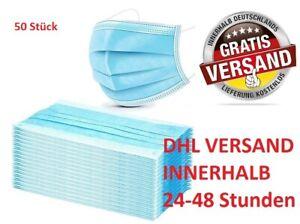 50 STÜCK Maske Mundschutz 3 lagig Gesichtsschutz Atemschutz Baumwolle Blau Neu