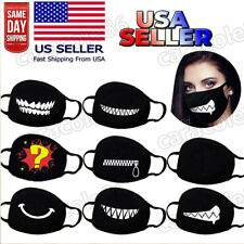 Cartoon Face Mask Cover Funny Unisex Mouth Black Cotton Printed Reusuable*