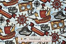 Pirate Pirates Ahoy Matey Ships Anchors Treasure Chests Flannel Fabric BTY (J) <