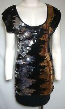 BCBG MAX AZRIA Sequin Dress Silver Gold Black Tunic Sleeveless Small Club NEW