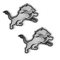 New 2pc NFL Detroit Lions 3-D Chrome Plastic Car Truck Auto Emblem Decal