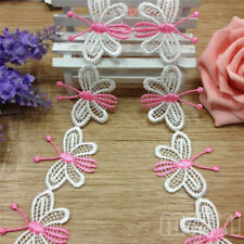 1 Yards Pink White Butterfly Lace Trim Ribbon Wedding Applique DIY Sewing Craft
