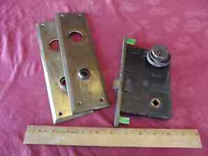 Vintage Antique Sargent & Co. Keyed Spring Box Mortise Lock Latch & Cover Plates