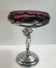"""Farber Bros 7 1/2"""" Compote Dish With Nude Stem Cambridge Amethyst Glass Vintage"""