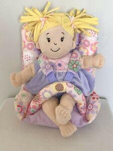 Manhattan Toy Baby Stella Soft Plush Doll Blonde Pigtails Car Seat Purple Dress