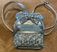 Disney Parks Loungefly Arendelle Aqua Minnie Mouse Sequined Mini Backpack Great!