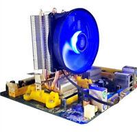 Aluminum LED 2 Heat Pipe Quiet CPU Cooler Heatsink Dual Fan For LGA 1155 775 12V