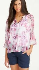 Tommy Bahama Waterfall Floral Silk Chiffon Blouse Meadow Mauve S (4-6)NWT $158
