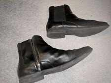 COLE HAAN GRAND,OS SIGNATURE BLK LETHER SIDE ZIP ANKLE BOOTS MENS 11.5M