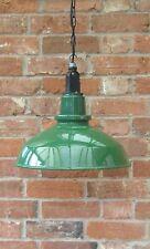 "16"" Green Thorlux Industrial Vintage Enamel Factory Pendant Lamp/Light REWIRED"