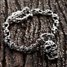FLAME TATTOO SKULL 925 STERLING SILVER CHAIN MENS BRACELET NEW GOTHIC BIKER