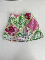 Lilly Pulitzer VGUC Girl's Jubilee Green Pink & White Animal Print Skirt 4