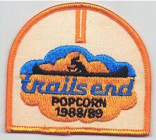 Vintage 1988-89 Trails End Popcorn Patch Snack Food Advertising Indian Canoe BSA