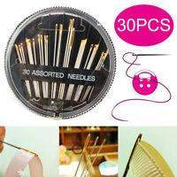 30Pcs Self-Threading Sewing Needles - ASSORTED SIZES - EASY THREAD- Big Eye kits
