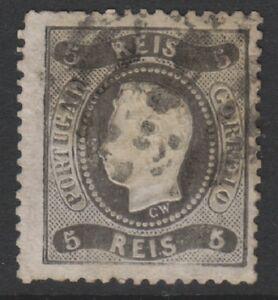 Portugal - 1867, 5r Black (Type I) - 4 Margins - Used - SG 52