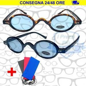 Occhiali Da Sole Style Renato Zero Tondi Piccoli Vintage UV400 Lenti Blu Eyewear