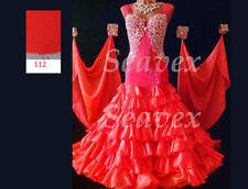 Ballroom Standard Tango Waltz US 6 Dance Dress#B3506 Coral 7 layer skirt