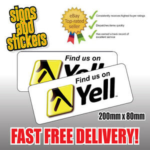 2x Find us on Yell Social Network Stickers Business shop media advertising.