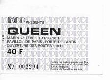 RARE / TICKET BILLET CONCERT - QUEEN : FREDDIE MERCURY - LIVE PARIS FRANCE 1979