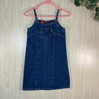 Vintage 90's Esprit Denim Jean Dress Girls Size 12 Spaghetti Straps Jumper