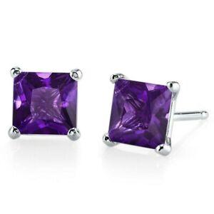 1.98 ct Princess Cut Purple Amethyst Stud Earrings in 14K White Gold