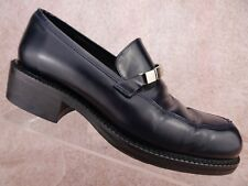 Vtg 90s Calvin Klein Ck Black Leather Chunky Heel Club Retro Italy Loafer Shoe 6