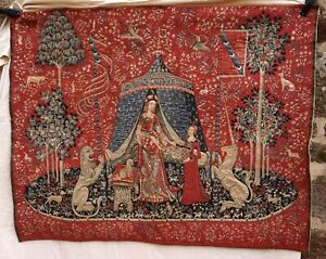 "Lady and the Unicorn Medieval Wall Hanging Tapestry Belgium 52 3/4"" x 42 1/2"""