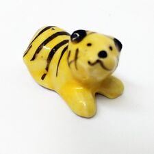 Tiny Ceramic Cute Yellow Tiger FIGURINE Home Decor MINIATURE Gift Garden Decor